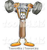 Illustration of a Cartoon Hammer Mascot Holding a Heavy Barbell Above His Head by Toons4Biz