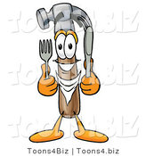 Illustration of a Cartoon Hammer Mascot Holding a Knife and Fork by Toons4Biz