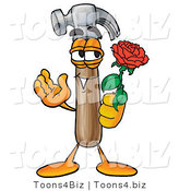 Illustration of a Cartoon Hammer Mascot Holding a Red Rose on Valentines Day by Toons4Biz