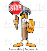 Illustration of a Cartoon Hammer Mascot Holding a Stop Sign by Toons4Biz