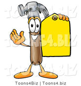 Illustration of a Cartoon Hammer Mascot Holding a Yellow Sales Price Tag by Toons4Biz