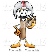 Illustration of a Cartoon Hammer Mascot in a Helmet, Holding a Football by Toons4Biz