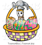 Illustration of a Cartoon Hammer Mascot in an Easter Basket Full of Decorated Easter Eggs by Toons4Biz