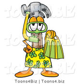 Illustration of a Cartoon Hammer Mascot in Green and Yellow Snorkel Gear by Toons4Biz