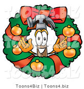 Illustration of a Cartoon Hammer Mascot in the Center of a Christmas Wreath by Toons4Biz