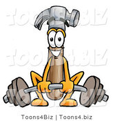 Illustration of a Cartoon Hammer Mascot Lifting a Heavy Barbell by Toons4Biz