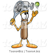 Illustration of a Cartoon Hammer Mascot Preparing to Hit a Tennis Ball by Toons4Biz