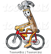 Illustration of a Cartoon Hammer Mascot Riding a Bicycle by Toons4Biz