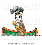Illustration of a Cartoon Hammer Mascot Rowing a Boat by Toons4Biz