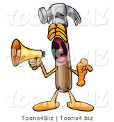 Illustration of a Cartoon Hammer Mascot Screaming into a Megaphone by Toons4Biz
