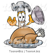 Illustration of a Cartoon Hammer Mascot Serving a Thanksgiving Turkey on a Platter by Toons4Biz