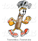 Illustration of a Cartoon Hammer Mascot Speed Walking or Jogging by Toons4Biz