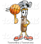 Illustration of a Cartoon Hammer Mascot Spinning a Basketball on His Finger by Toons4Biz