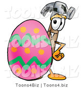 Illustration of a Cartoon Hammer Mascot Standing Beside an Easter Egg by Toons4Biz