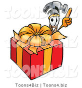 Illustration of a Cartoon Hammer Mascot Standing by a Christmas Present by Toons4Biz