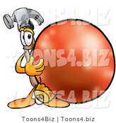 Illustration of a Cartoon Hammer Mascot Standing with a Christmas Bauble by Toons4Biz