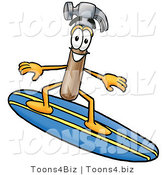 Illustration of a Cartoon Hammer Mascot Surfing on a Blue and Yellow Surfboard by Toons4Biz