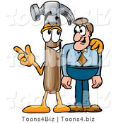 Illustration of a Cartoon Hammer Mascot Talking to a Business Man by Toons4Biz