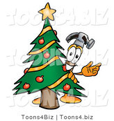 Illustration of a Cartoon Hammer Mascot Waving and Standing by a Decorated Christmas Tree by Toons4Biz
