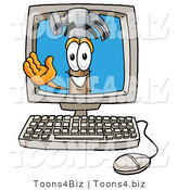 Illustration of a Cartoon Hammer Mascot Waving from Inside a Computer Screen by Toons4Biz