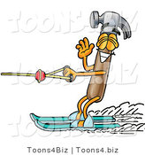 Illustration of a Cartoon Hammer Mascot Waving While Water Skiing by Toons4Biz
