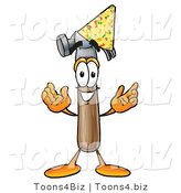 Illustration of a Cartoon Hammer Mascot Wearing a Birthday Party Hat by Toons4Biz