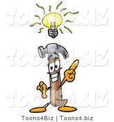 Illustration of a Cartoon Hammer Mascot with a Bright Idea by Toons4Biz