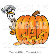 Illustration of a Cartoon Hammer Mascot with a Carved Halloween Pumpkin by Toons4Biz