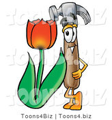 Illustration of a Cartoon Hammer Mascot with a Red Tulip Flower in the Spring by Toons4Biz