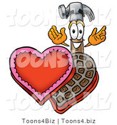 Illustration of a Cartoon Hammer Mascot with an Open Box of Valentines Day Chocolate Candies by Toons4Biz