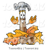Illustration of a Cartoon Hammer Mascot with Autumn Leaves and Acorns in the Fall by Toons4Biz