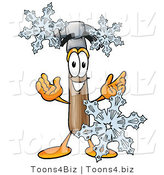 Illustration of a Cartoon Hammer Mascot with Three Snowflakes in Winter by Toons4Biz