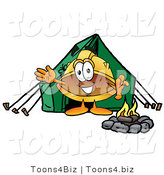 Illustration of a Cartoon Hard Hat Mascot Camping with a Tent and Fire by Toons4Biz