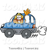 Illustration of a Cartoon Hard Hat Mascot Driving a Blue Car and Waving by Toons4Biz