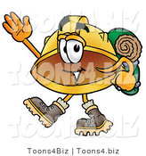 Illustration of a Cartoon Hard Hat Mascot Hiking and Carrying a Backpack by Toons4Biz