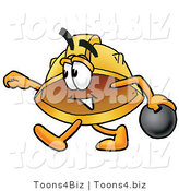 Illustration of a Cartoon Hard Hat Mascot Holding a Bowling Ball by Toons4Biz