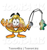 Illustration of a Cartoon Hard Hat Mascot Holding a Fish on a Fishing Pole by Toons4Biz