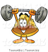 Illustration of a Cartoon Hard Hat Mascot Holding a Heavy Barbell Above His Head by Toons4Biz