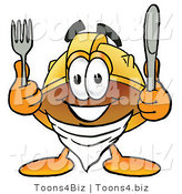 Illustration of a Cartoon Hard Hat Mascot Holding a Knife and Fork by Toons4Biz