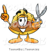Illustration of a Cartoon Hard Hat Mascot Holding a Pair of Scissors by Toons4Biz