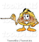 Illustration of a Cartoon Hard Hat Mascot Holding a Pointer Stick by Toons4Biz