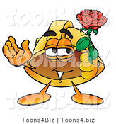 Illustration of a Cartoon Hard Hat Mascot Holding a Red Rose on Valentines Day by Toons4Biz