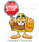 Illustration of a Cartoon Hard Hat Mascot Holding a Stop Sign by Toons4Biz