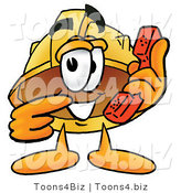Illustration of a Cartoon Hard Hat Mascot Holding a Telephone by Toons4Biz