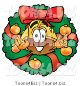 Illustration of a Cartoon Hard Hat Mascot in the Center of a Christmas Wreath by Toons4Biz