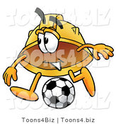 Illustration of a Cartoon Hard Hat Mascot Kicking a Soccer Ball by Toons4Biz