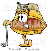 Illustration of a Cartoon Hard Hat Mascot Leaning on a Golf Club While Golfing by Toons4Biz