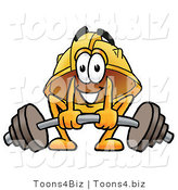 Illustration of a Cartoon Hard Hat Mascot Lifting a Heavy Barbell by Toons4Biz