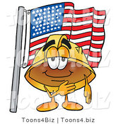 Illustration of a Cartoon Hard Hat Mascot Pledging Allegiance to an American Flag by Toons4Biz