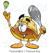 Illustration of a Cartoon Hard Hat Mascot Preparing to Hit a Tennis Ball by Toons4Biz